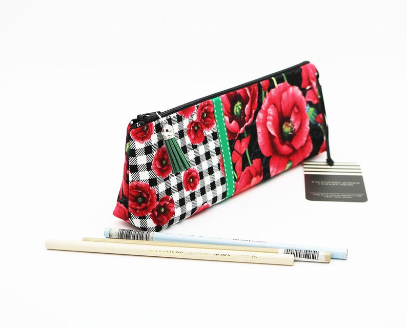 Makeup Brush Holder with Flat Base Floral Pencil Case Makeup image 0