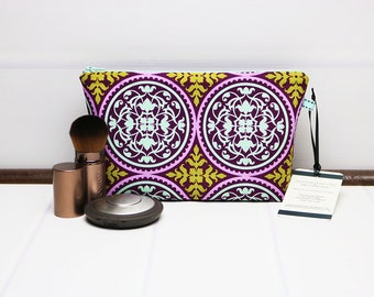 Travel Makeup Bag, Small Cosmetic Pouch made using a Geometric Fabric, Purple Green Aqua, Zipper Makeup Holder, Makeup Organizer