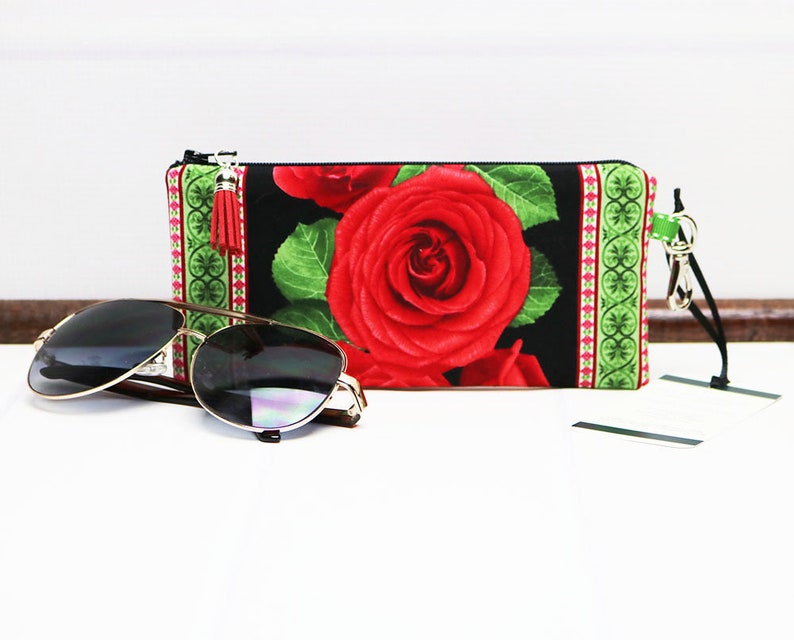 Zipper Glasses Pouch  Floral Eyeglass Case  Sunglasses Case image 0