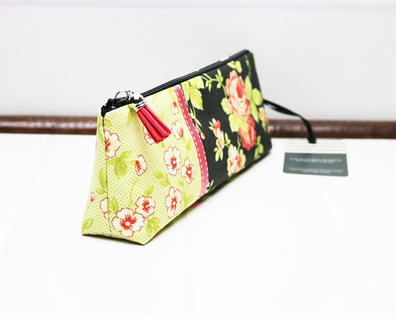 Black Floral Gingham Pencil Case with Flat Bottom Cute Pencil image 0