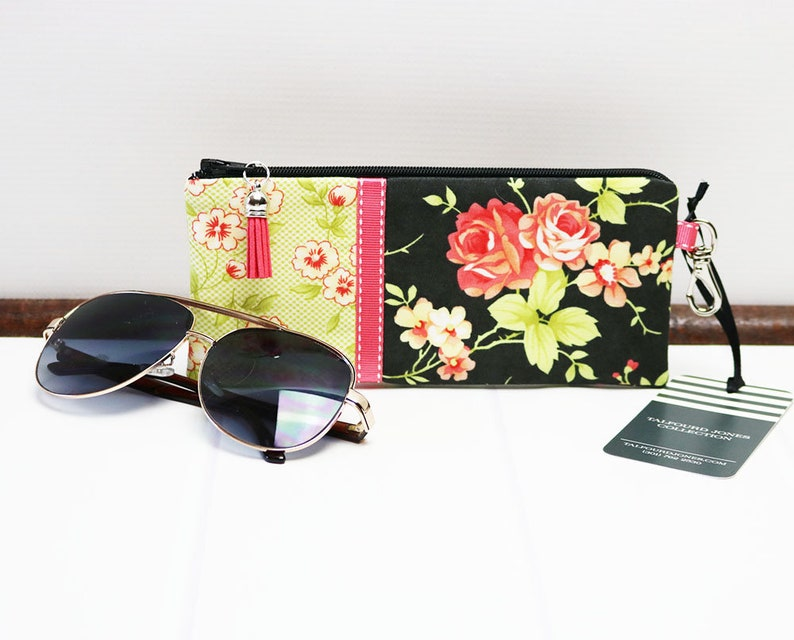 Case for Glasses with Zipper Floral Gingham Fabric Reading image 0