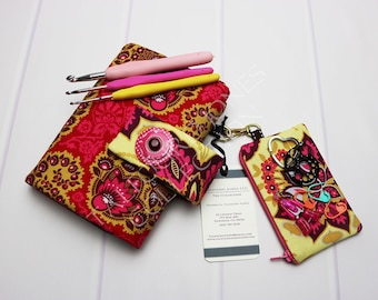 Floral Crochet Case - Crochet Hook Storage - Floral Crochet Roll - Hook Organizer - Crochet Hook Holder - Crochet Hooks - Joel Dewberry