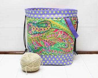 Small Drawstring Project Bag, Knitting Crochet, Safari Bag, Paisley Floral Polka Dot,  Travel Yarn Bag, Yarn Holder, Bucket Bag, Wrist Pouch