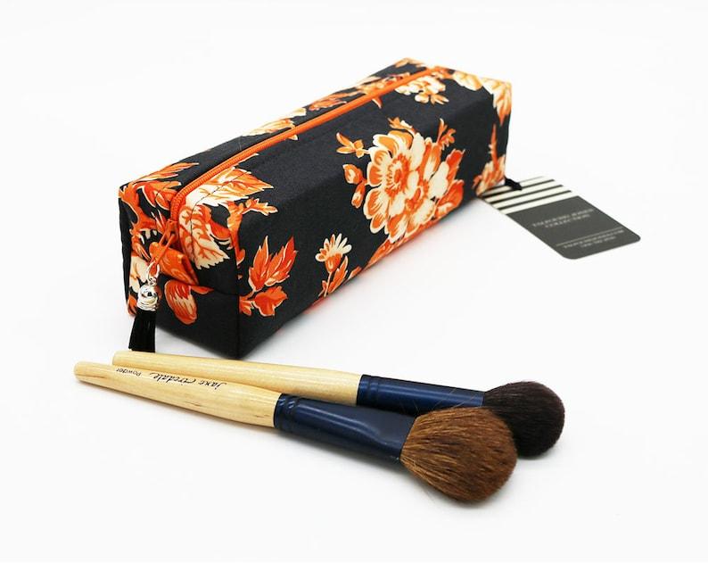 Makeup Brush Bag Box Zipper Bag Floral Fabric Grey Orange image 0