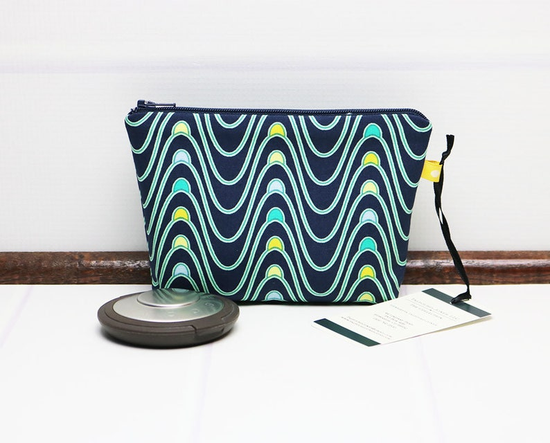 Geometric Makeup Bag  Mini Cosmetic Bag  Fabric Zipper Pouch image 0