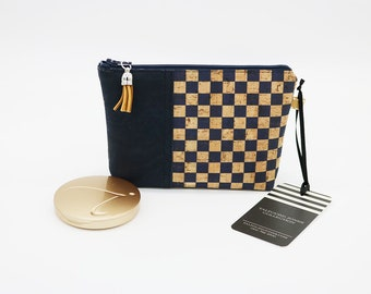 Mini Cosmetic Bag, made with Cork Fabric, Vegan, Eco-Friendly, Makeup Holder, Blue Gingham Check, Notions Pouch, Purse Makeup Bag