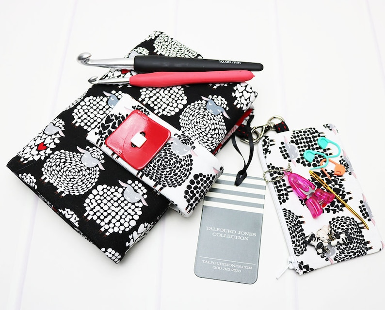Crochet Hook Case with Numbered Pockets Black Sheep Fabric image 0