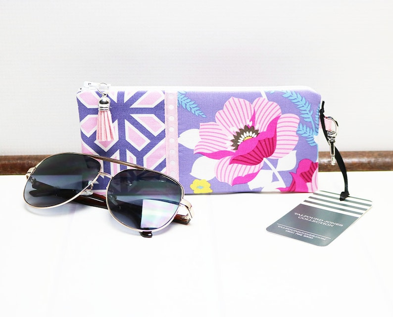 Case for Glasses with Zipper Floral Geometric Fabric Reading image 0