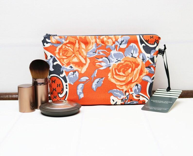Small Makeup Bag with Orange Flowers Makeup Organizer Fabric image 0