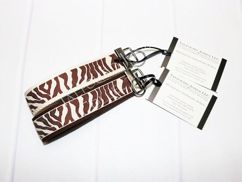 Zebra Key Ring  Safari Key Wristlet  Wrist Lanyard  Animal image 0