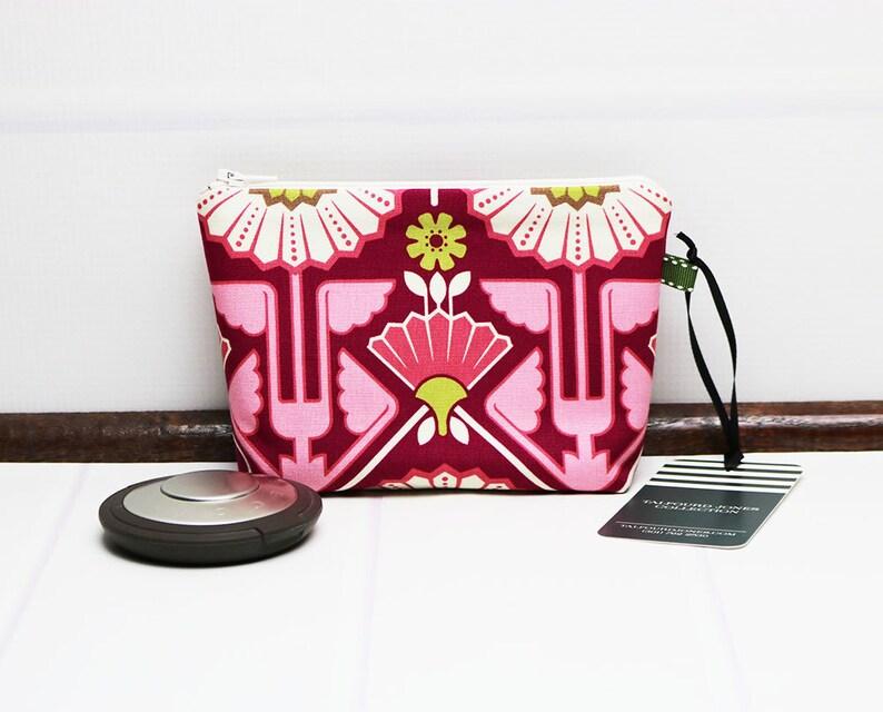 Floral Makeup Bag  Mini Zipper Pouch  Mini Makeup Bag  Mini image 0