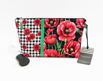 Medium Makeup Pouch, Zipper Cosmetic Bag, Gingham Poppy, Fabric Makeup Holder, Knitting Project Bag, Toiletry Bag, Travel Wash Bag