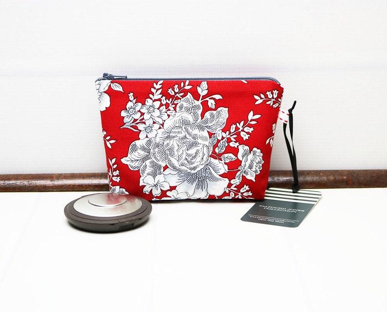 Red Floral Makeup Bag  Mini Cosmetic Bag   Mini Cosmetic image 0