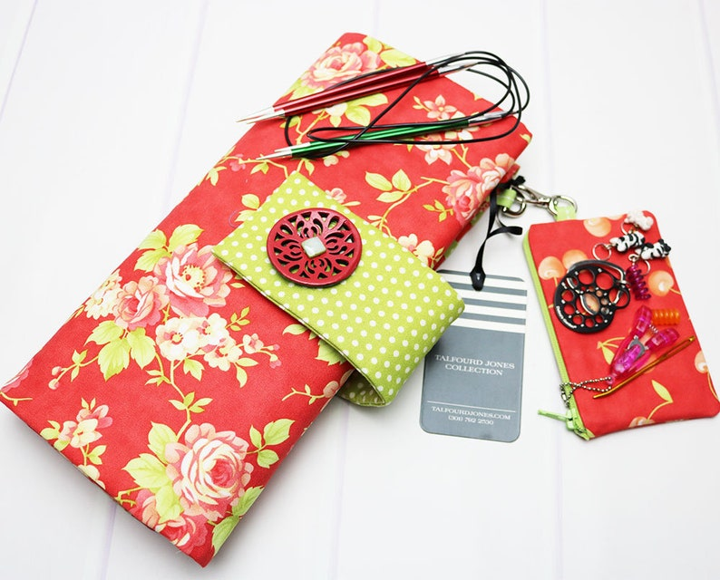 Floral Circular Knitting Needle Case with Numbered Pockets image 0
