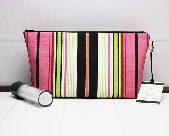 63b951349c Travel Makeup Pouch Medium Cosmetic Bag Stripe Makeup Bag