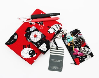 Crochet Hook Case with Numbered Pockets, Crochet Hooks, Sheep Fabric, Crochet Bag, Crochet Organizer, Hook Holder