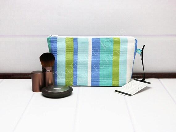b59b62d584 Aqua Makeup Bag Stripe Zipper Pouch Small Toiletry Bag