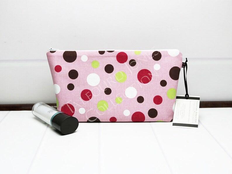 Medium Cosmetic Bag in Polka Dot Fabric Travel Makeup Bag image 0