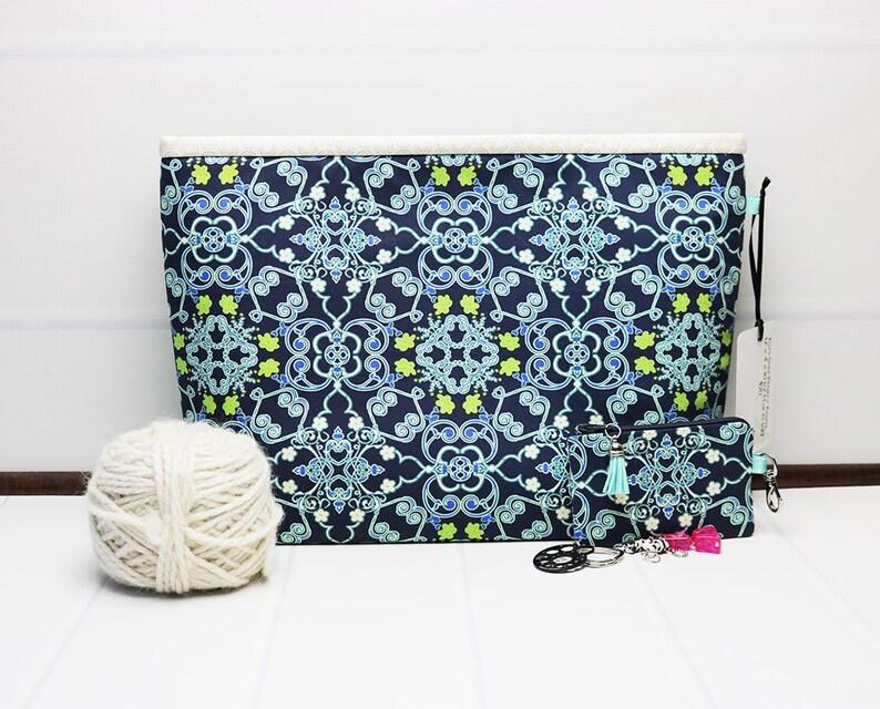 Floral Knitting Bag  Craft Project Bag  Yarn Tote Bag  image 0