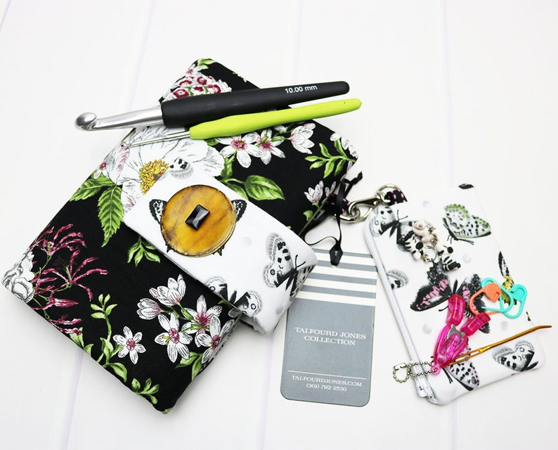 Crochet Hook Case with Numbered Pockets Black Floral Fabric image 0