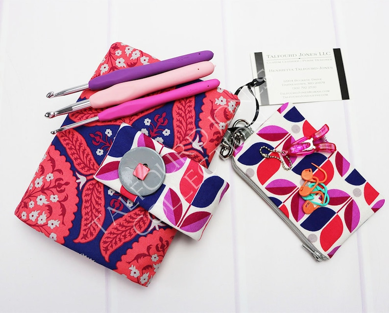 Floral Crochet Hook Case with Numbered Pockets Perfect for image 0