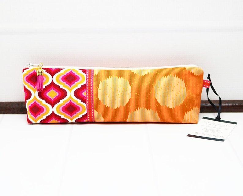 Orange Pencil Pouch  Pencil Case Pouch  Long Zipper Pouch  image 0