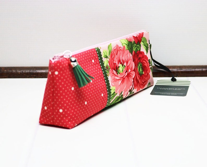Floral Pencil Case with Flat Base Pink Makeup Pouch Long image 0