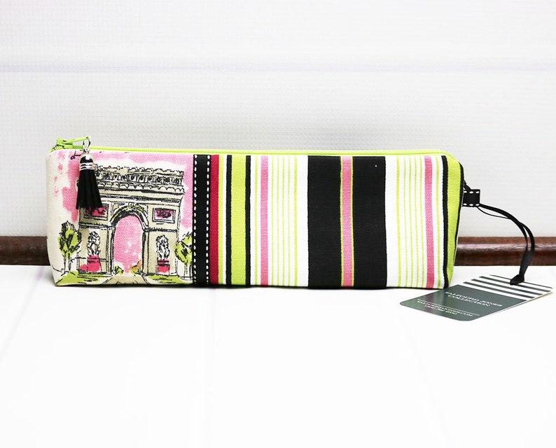 Stripe Pencil Case  Fabric Zipper Pouch  Long Makeup Pouch  image 0