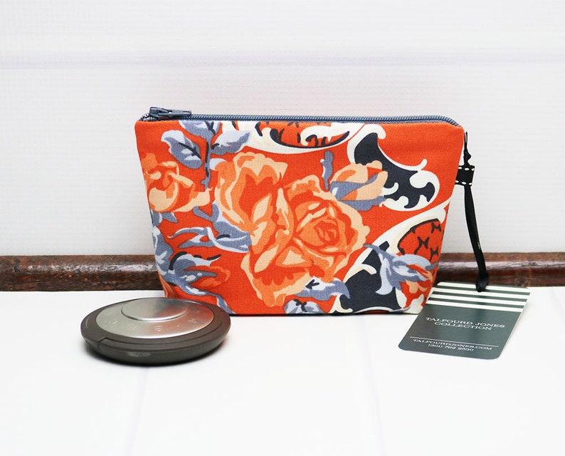 Orange Floral Makeup Bag  Mini Cosmetic Bag  Fabric Zipper image 0