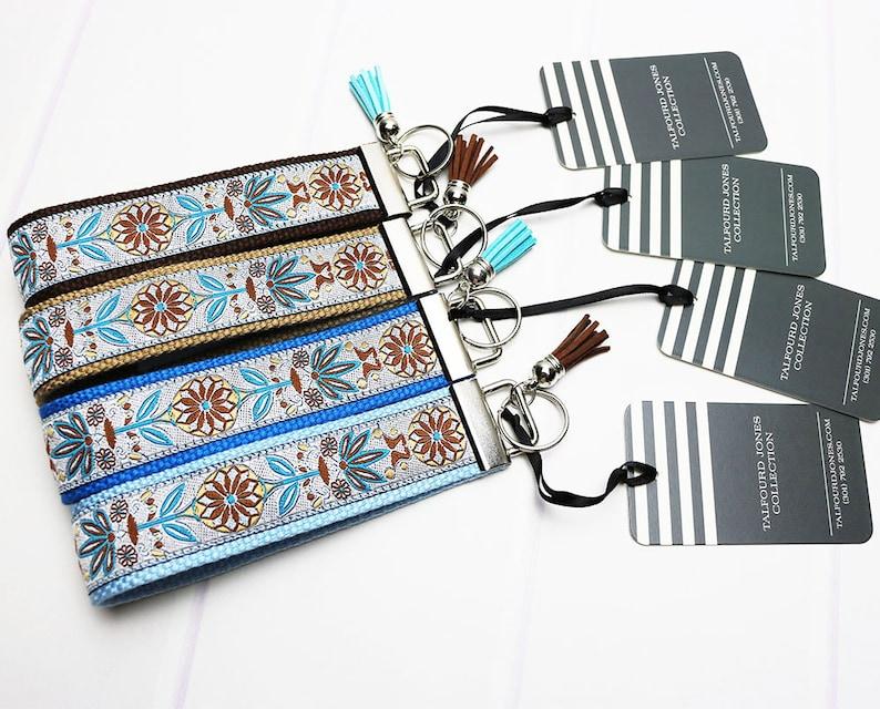 Floral Keychain  Wrist Lanyard  Key Ring Bracelet  Wristlet image 0