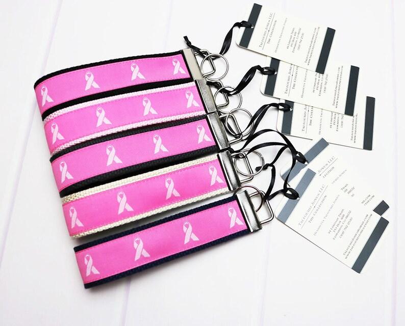 Key Ring Bracelet  Breast Cancer Ribbon  Wrist Lanyard  Key image 0
