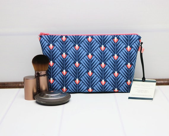 e5506becd2 Floral Makeup Pouch Small Makeup Bag Blue Cosmetic Bag