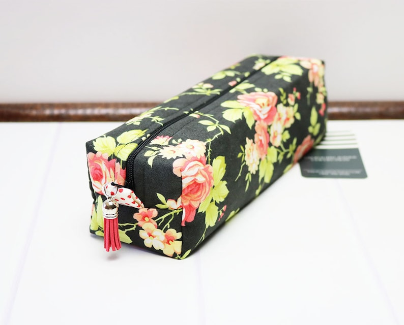 Makeup Brush Bag made using Black Floral Fabric perfect for image 0