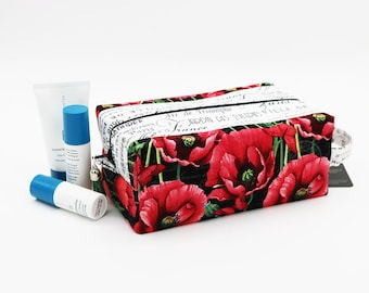 Travel Toilet Bag, Cosmetic Pouch, French Poppy Floral, Knitting Project Bag, Ladies Toiletry Bag, Womens Dopp Kit, Box Organizer Pouch