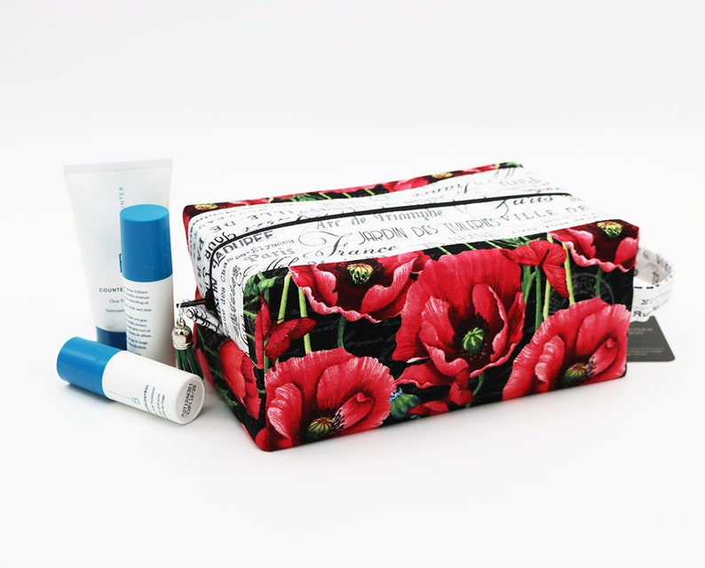 Travel Toilet Bag Cosmetic Pouch French Poppy Floral image 0