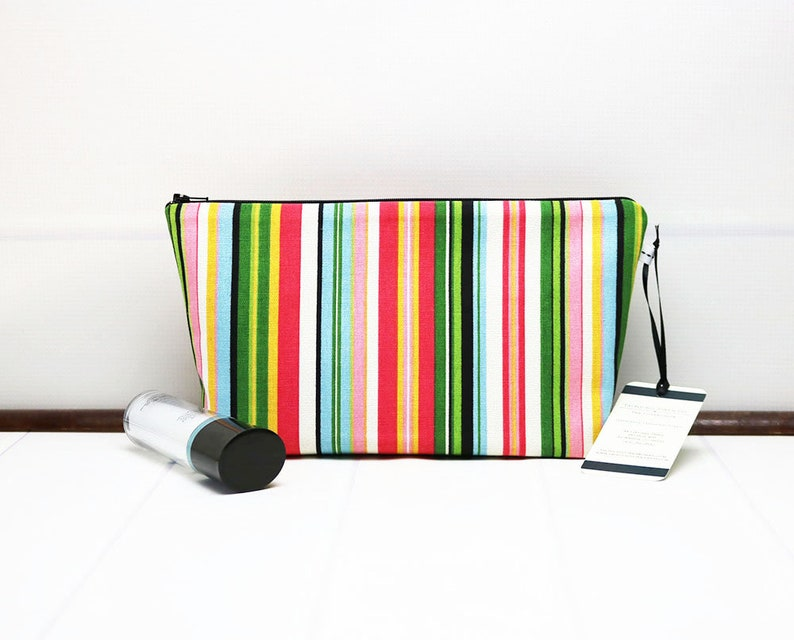 Toiletry Bag Medium Makeup Bag handcrafted using a Stripe image 0