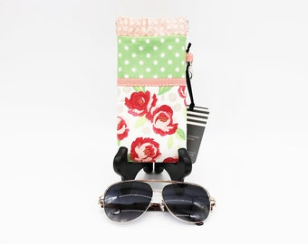 Fabric Glasses Case, Flex-Frame, Polka Dot Floral, Green Ivory Red, Squeeze Open Close Readers Pouch, Sunglasses, Eyeglass Holder