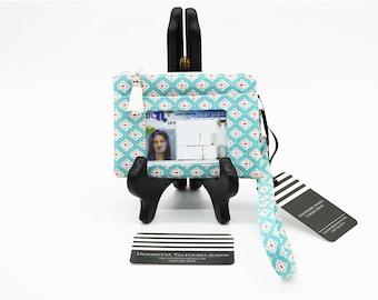 RFID Minimalist Wallet with Wrist Strap, Credit Card Holder, Geometric Lattice Fabric Womens Clutch, ID Holder Keychain, Zipper Change Purse
