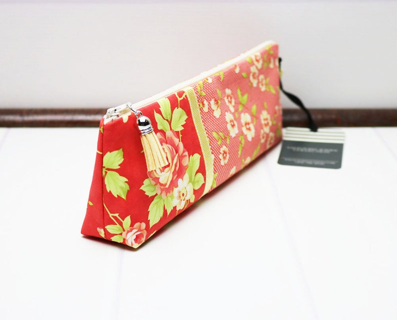 Red Gingham Check Pencil Case with Flat Bottom Cute Pencil image 0
