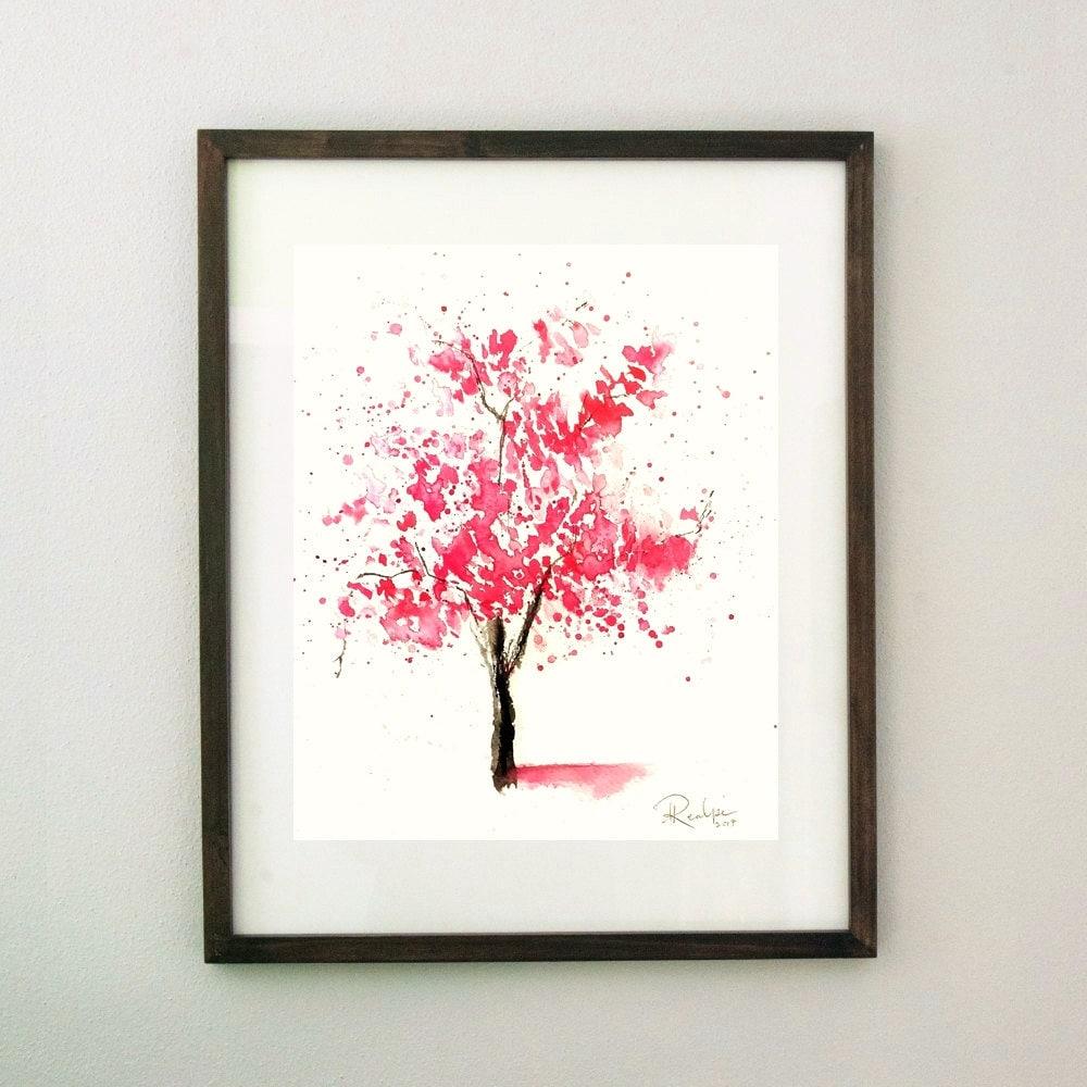 Kirschblüten-Baum-Aquarell-Kunst originale | Etsy