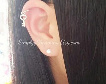 Tiny Key Cartilage Earring Dangling 16ga
