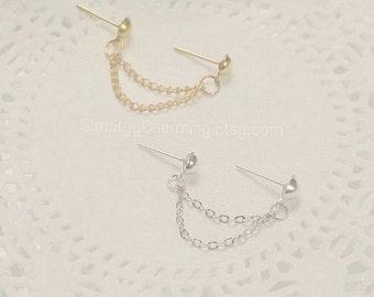 Simple Silver Gold Double Lobe Chain Earring Simple Dainty Multiple Piercings Body Jewelry