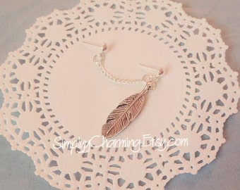 Feather Double Lobe Chain Earring Angel Wing Simple Charm Dangle Jewelry Silver