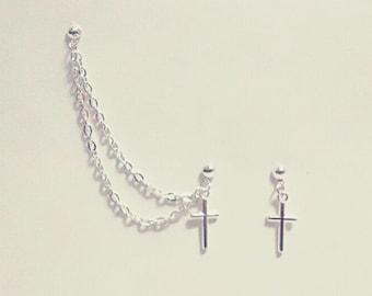 Small Cross Cartilage Chain Earrings
