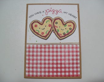 nniversary/Love Card - Pizza Pun Card - You Have a Pizza My Heart - BLANK Inside