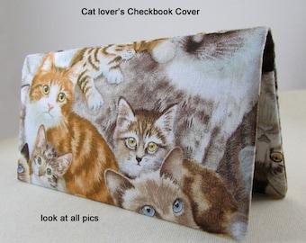 CHECKBOOK COVER  TWIN WHITE KITTENS