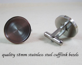 Quality 18mm Stainless Steel Cufflink Blank Bezels - Quality Accessories - Wedding - Gift Idea - Suit Accessory Tuxedo Accessory - Jewelry