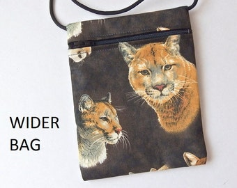 "Pouch Zip Bag PUMA Cat Fabric - great for walkers, markets, travel. Cell Phone Pouch. Small fabric Purse.  WIDER Bag 6.75"" X 5.25"""