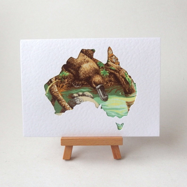 PLATYPUS Australia Fabric Greeting Card Blank Card 6 x 4 with envelope Textured  note card. quilting fabric in cutout shape