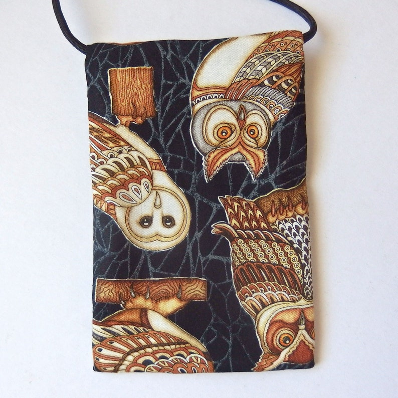 markets What a hoot 6.75x4.25 Pouch Zip Bag OWLS on Black Fabric Owl fabric black purse - Great for Walkers travel Cell Phone Pouch